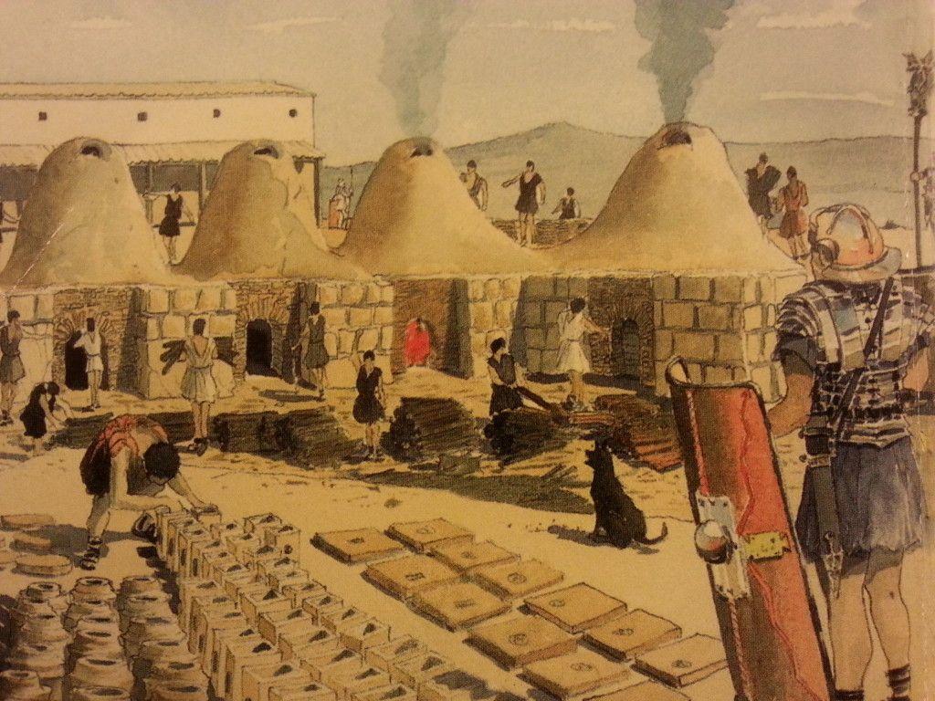 הדמיה של הכבשנים והמוצרים של בית החרושת הרומי בגבעת רם