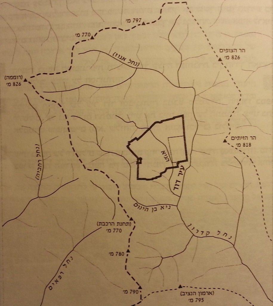 מפת אזור ירושלים (הקו המקווקו הוא קו פרשת המים
