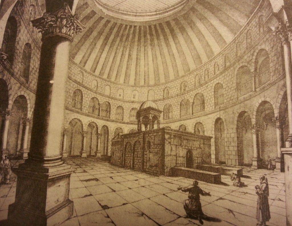 הרוטונדה של כנסית הקבר לפי הצייר והנוסע ההולנדי ברוין (1681)