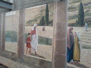בריכת השילוח והרחבה בציור קיר