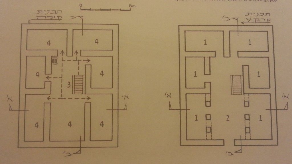 """בית 4 המרחבים: מימין קומה ראשונה ובה חדרים (1) מקיפים חצר מקורה (2), משמאל קומה שניה ובה חדרים (4) מקיפים מרפסת פתוחה (מתוך """"שער לארכיטקטורה"""" -ירון גולני"""