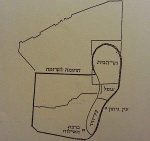 העיר של חזקיהו (הקו העבה) לעומת העיר העתיקה כיום (הקו הדק). בריכת השילוח בין החומותיים.