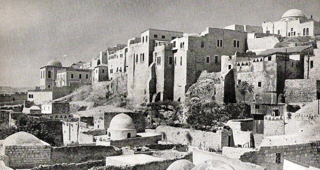 """הרובע היהודי לפני תש""""ח מבט מהשכונה המוגרבית שהיתה ברחבת הכותל"""